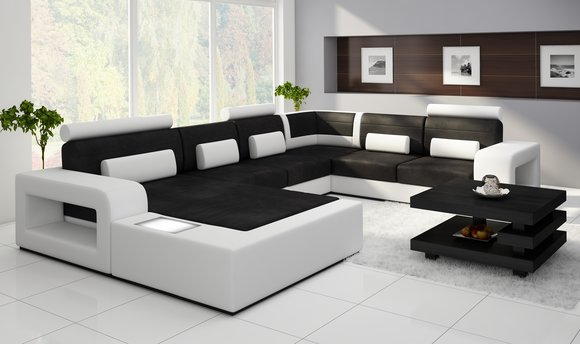 sofas und ledersofas h2209 bettfunktion designersofa ecksofa bei jv m bel. Black Bedroom Furniture Sets. Home Design Ideas