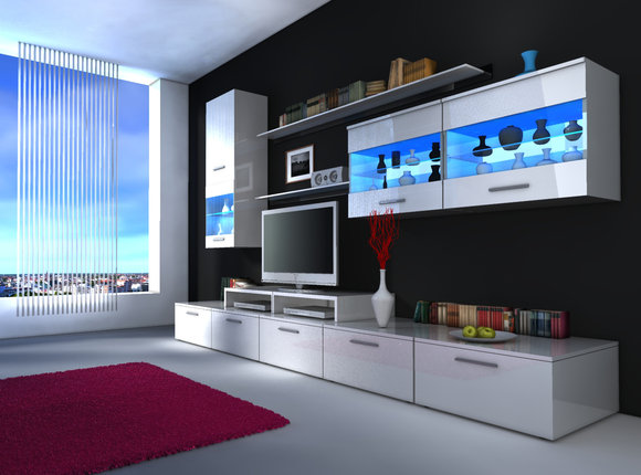 Moderne Hochglanz Wohnwand Beta Mit Led Beleuchtung Pictures to pin on