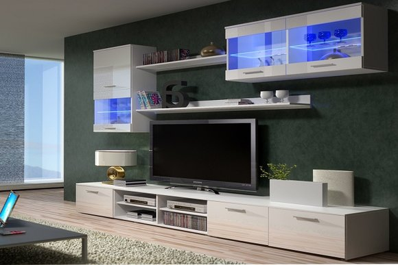Moderne Wohnwand Mit Led Beleuchtung : Moderne Hochglanz Wohnwand Beta Mit Led Beleuchtung Pictures to pin on
