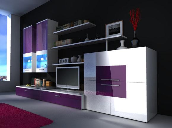 Wohnzimmer Schrank mit Vitrine & Sideboard Delta: Variante 3 (violet ...