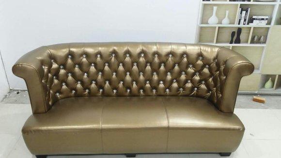 chesterfield sofa couch polster 3 sitzer 100 echtes leder sofort lieferbar neu gold www. Black Bedroom Furniture Sets. Home Design Ideas
