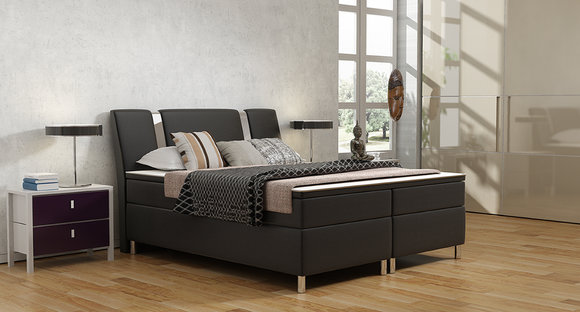 jvmoebel polsterbett lederbett bett boxspringbett box1 180x200cm. Black Bedroom Furniture Sets. Home Design Ideas
