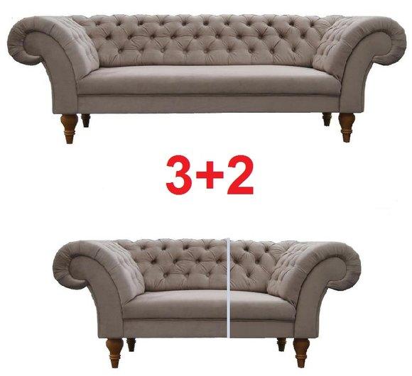 Sofagarnitur Chesterfield 3+2 Textil Stoff Sofa Couch Polster Garnitur