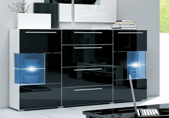 kommode sideboard highboard mit hochglanz fronten. Black Bedroom Furniture Sets. Home Design Ideas