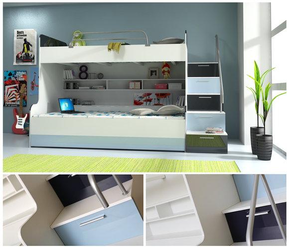 doppelstockbett raj2 3 teilig. Black Bedroom Furniture Sets. Home Design Ideas