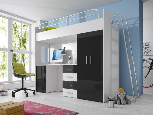 doppelstockbett stockbett bett etagenbett mit schreibtisch kleiderschrank raj 4 d grau www. Black Bedroom Furniture Sets. Home Design Ideas