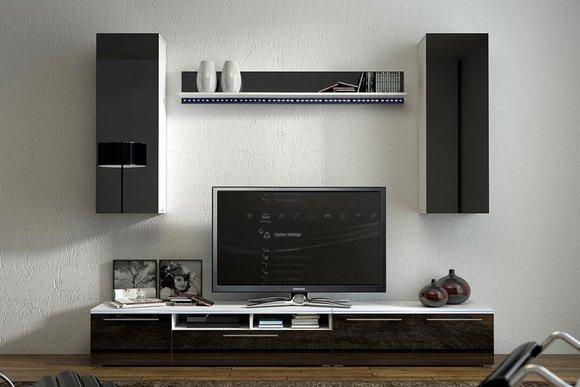 hochglanz wohnwand schrankwand mit led beleuchtung magnum. Black Bedroom Furniture Sets. Home Design Ideas