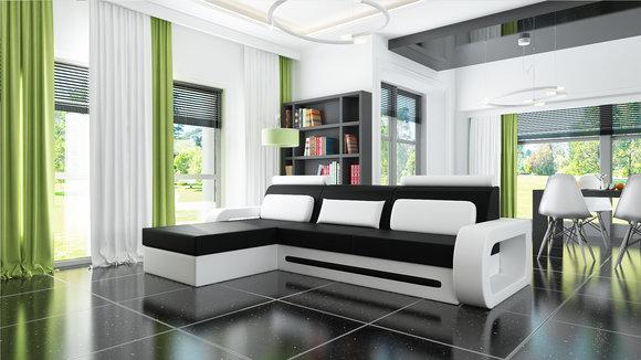 jvmoebel ecksofa ledersofa schlafsofa davos 1 mit bettfunktion. Black Bedroom Furniture Sets. Home Design Ideas