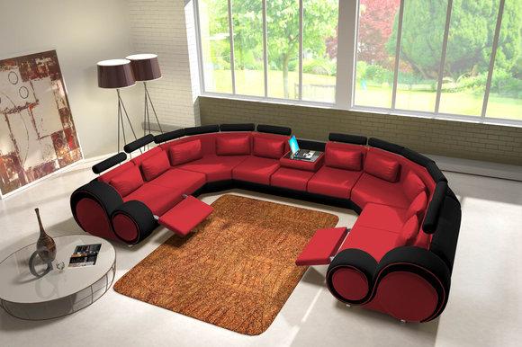 Jvmoebel ledersofa couch sofa ecksofa modell berlin iv u for Ecksofas u form