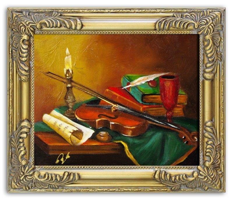 Gemälde Geige Violine Handarbeit Ölbild Bild Ölbilder Rahmen Bilder G02961
