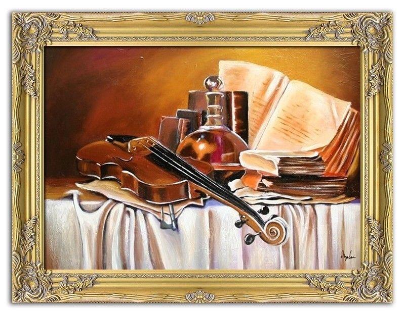 Gemälde Geige Violine Handarbeit Ölbild Bild Ölbilder Rahmen Bilder G05357