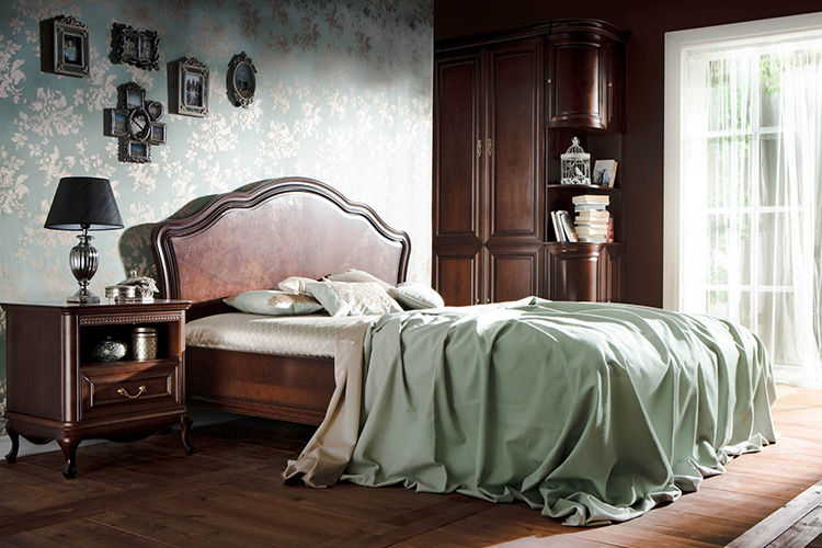 Klassisches Bett Ehebett Doppelbett Lederbett Chippendale Schlafzimmer Verona V