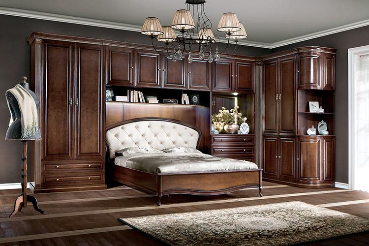 Bett Schlafzimmer Königliches Schlafzimmer mit Oberschrank Schrank - Verona  IV
