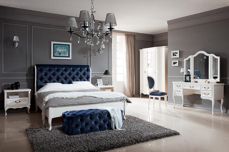 Designer Schlafzimmer Chesterfield Schminktisch Spiegel Kleiderschrank Bett  7tlg