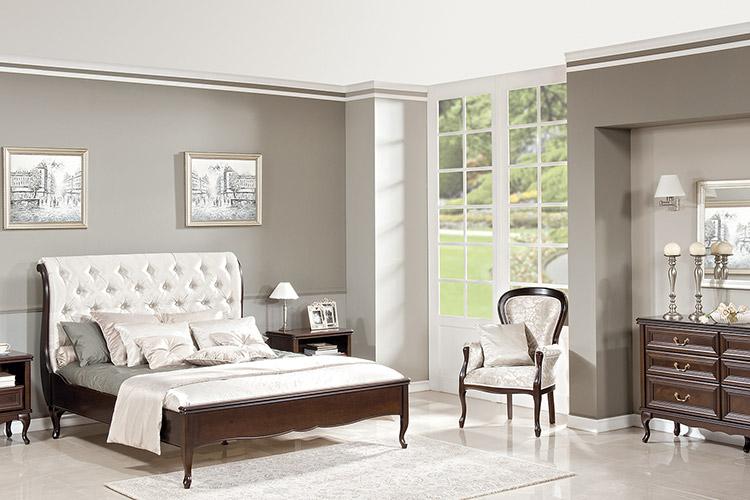 Komplett Schlafzimmer Bett Ehebett Nachttische Kommode Sessel Chippendale  Royal