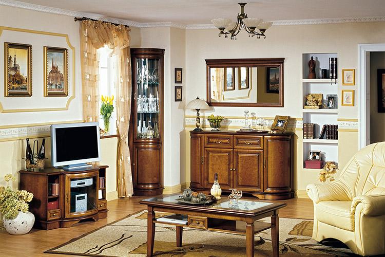 Zefir 3 Wohnzimmer Set Vitrinen Spiegel Couchtisch Kommode 5 Teilig