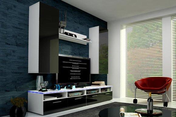 hochglanz wohnwand schrankwand mit led beleuchtung cinema. Black Bedroom Furniture Sets. Home Design Ideas