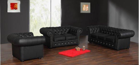 3+2+1 Chesterfield Sofagarnitur Sofa Polster Leder Set Couch Garnitur Antik Neu