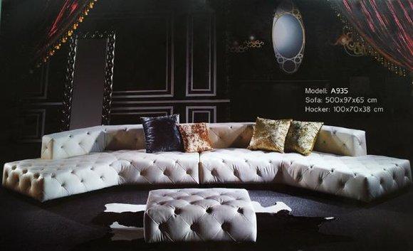 Chesterfield Big Sofa 500cm Ledersofa Couch Wohnlandschaft XXL Sofort lieferbar