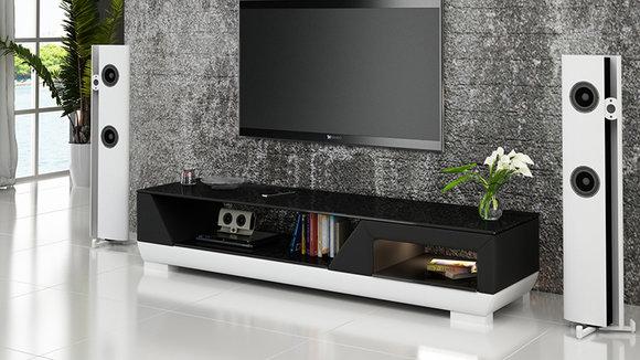 rtv tv sideboard leder glas tisch fernseh schrank tisch designer neu glas modell i www. Black Bedroom Furniture Sets. Home Design Ideas