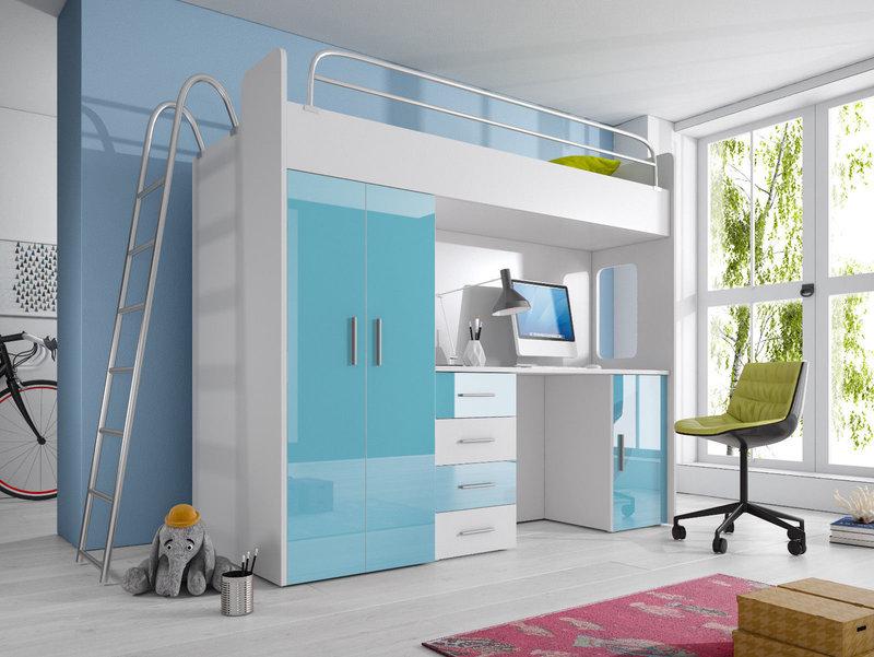 Etagenbett mit Schreibtisch und Kleiderschrank, Fronten in Hochglanz, in sechs Farben erhältlich