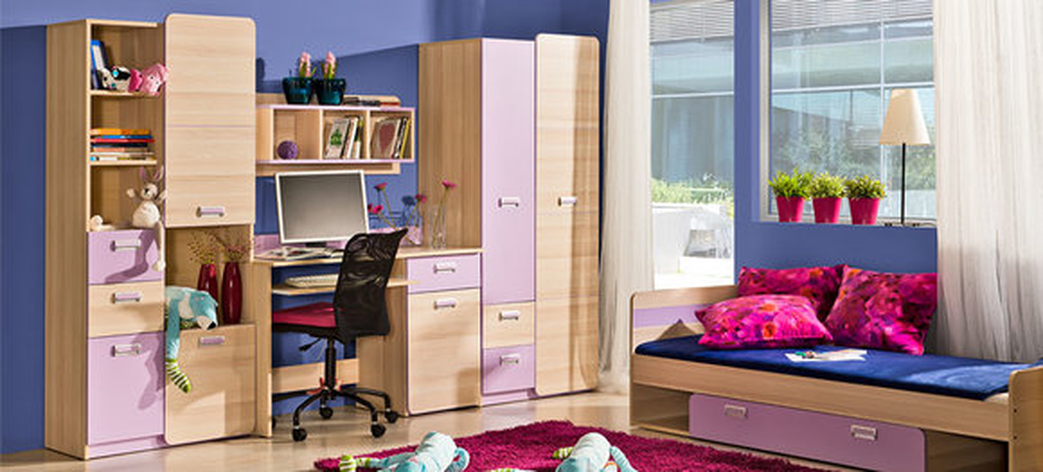 wohnwand anbauwand schrankwand kinderzimmer schreibtisch ... - Design Mobel Wohnzimmerschrank