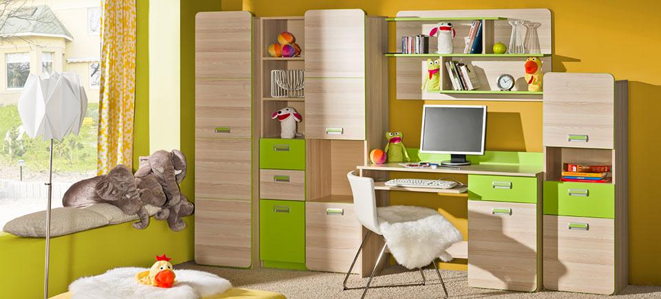Wohnwand Anbauwand Schrankwand Wohnzimmer Schrank Schreibtisch