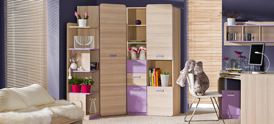 Komplett Jugendzimmer Kinderzimmer Eckschrank Schreibtisch Regal ...