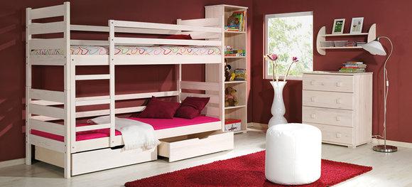 hochbett doppelstockbett etagenbett kinderbett bett bettkasten farbauswahl. Black Bedroom Furniture Sets. Home Design Ideas