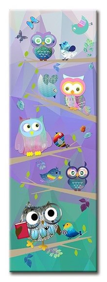 Farbenfrohe Eulen - ein Leinwandbild für das Kinderzimmer