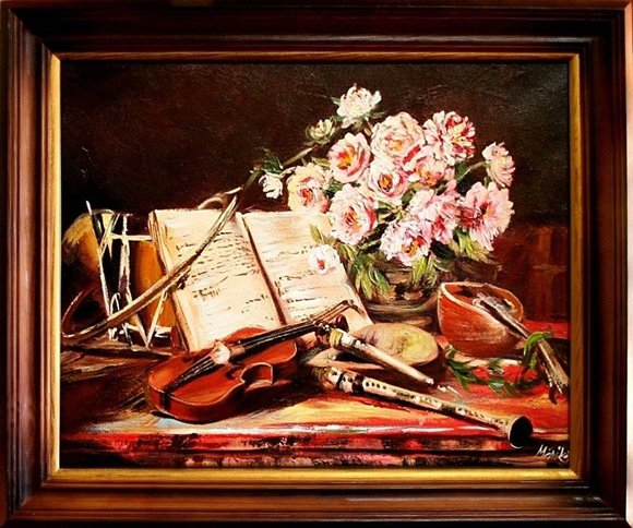 Gemälde Musikinstrumente Handarbeit Ölbild Bild Ölbilder Rahmen Bilder G04892