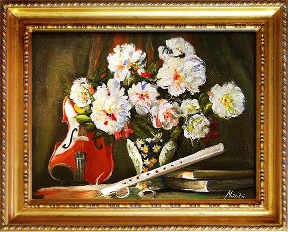 Gemälde Geige Violine Handarbeit Ölbild Bild Ölbilder Rahmen Bilder G05081