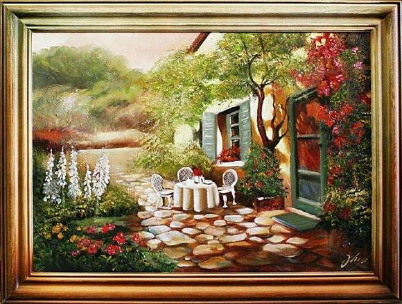 "Ölbild Bilder Bild Gemälde Ölgemälde ""Garten"" Handarbeit Mit Rahmen G02956"