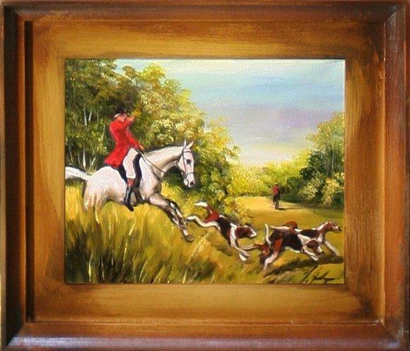 Gemälde Ölbild Ölbilder Rahmen Barock Bilder Bild Ölgemälde Jagd G15385