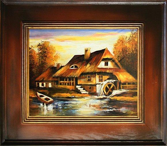 Gemälde See landschaft Handarbeit Ölbild Bild Ölbilder Rahmen Bilder G15474