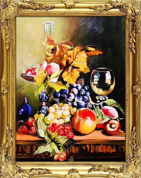 "Gemälde ""Obst "" Handarbeit Ölbild Bild Ölbilder Rahmen Bilder G04039"