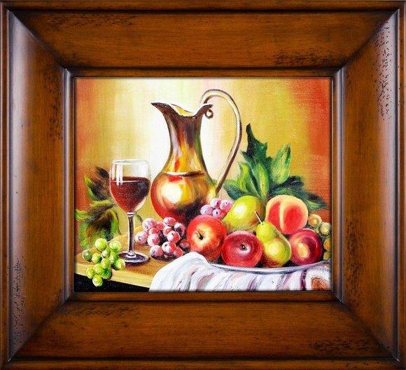 "Gemälde ""Obst "" Handarbeit Ölbild Bild Ölbilder Rahmen Bilder G16809"