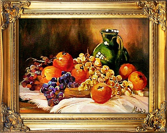 "Gemälde ""Obst "" Handarbeit Ölbild Bild Ölbilder Rahmen Bilder G02627"