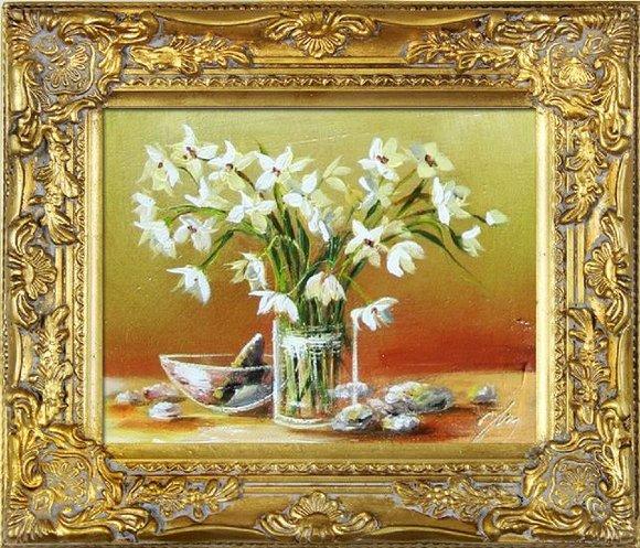 Ölgemälde Blumen Pflanzen Bild Bilder Gemälde Ölbilder Ölbild Mit Rahmen G06049