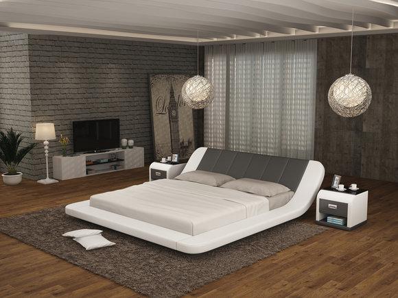 Leder Bett Design Polster Betten Luxus Doppel Modernes Ehe 140 160 180 LB8826