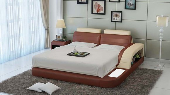 Polster Design Luxus Bett Betten Leder Modernes Schlafzimmer 140/160 ...