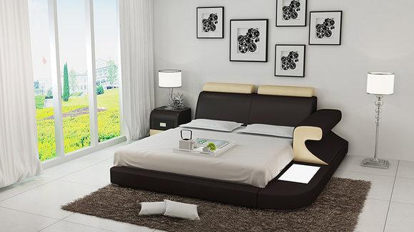 Luxus Bett + Beleuchtung Lederbett Betten Sofa Big Ehe