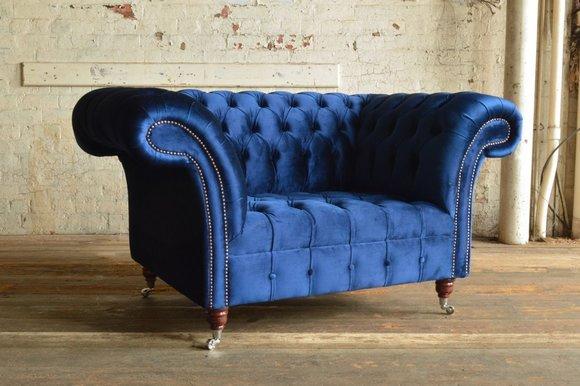Chesterfield Design Polster Sessel Fernseh Couch 1 Sitzer Garnitur Textil 372