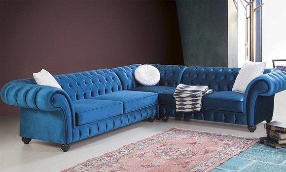 Chesterfield Ecksofa Sofa Couch Ledersofa Polster Eck Couch Garnitur