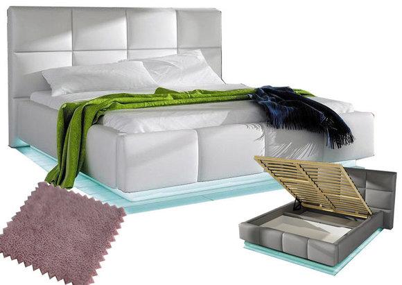 Doppelbett Bett mit Bettkasten 160x200cm Textil SOFORT LIEFERBAR Altrosa Betten