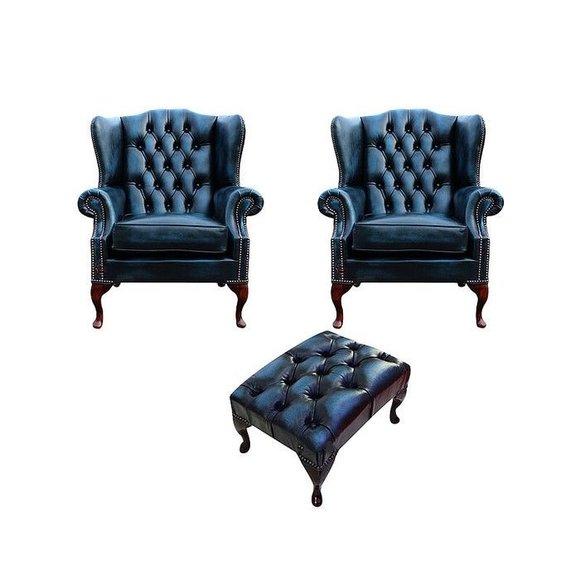 2x Ohrensessel Sofa Fernseh 1 Sitzer Couch Polster Set Garnitur Neu Chesterfield