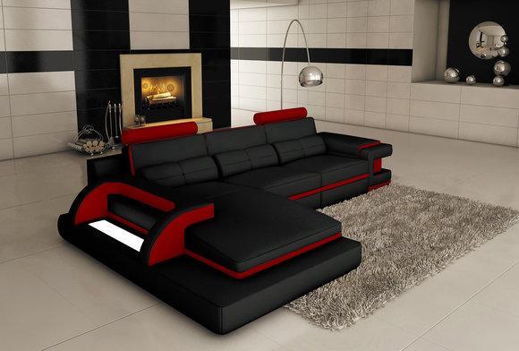 Design Polster Ecke Ledersofa Sofa Couch Sitz Garnitur