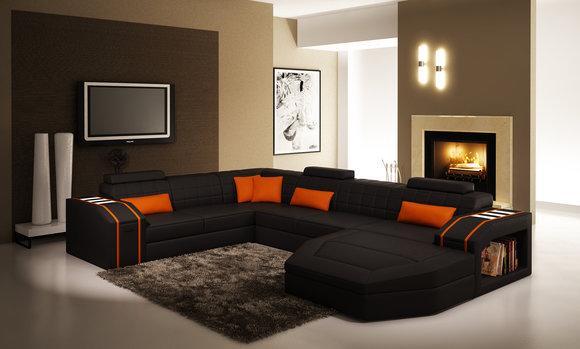 Wohnlandschaft Wohnzimmer Ecksofa Leder Sofa Couch Polster Garnitur