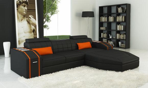 Beleuchtete Wohnzimmer Ledersofa Sofa Eck Couch Wohnlandschaft Big