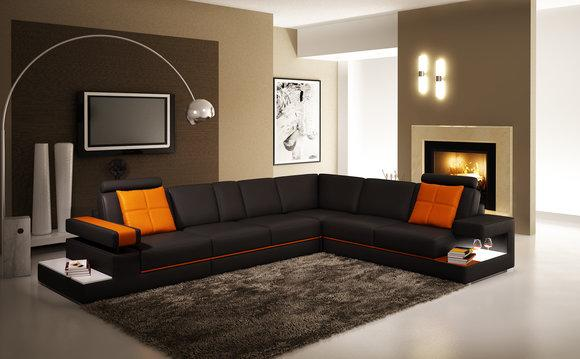 Moderne Wohnzimmer Ecksofa Couch Ledersofa mit Beleuchtung Sofa Couchen  Leder
